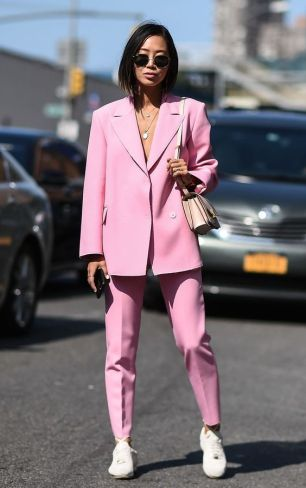 pink oversized suit