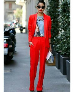 red oversized suit